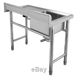 Complete Set Commercial Single Bowl Kitchen Sink Stainless Steel Catering Stand