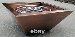Copper Cladded Outdoor Fire Pit Bowl Firepit Backyard Column Natural Gas Propane