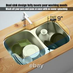 Costway 32 UnderMount 60/40 Double Bowl Kitchen Sink Stainless with Accessories