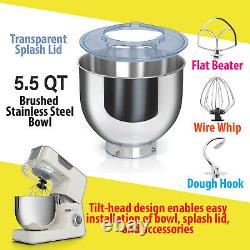 Deco Chef 5.5 QT Kitchen Stand Mixer, 550W 8-Speed Motor, with Mixing Attachments
