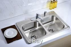 Double Bowl Kitchen Sink 4 Hole Heavy Duty Satin 33 Stainless Steel Top Mount