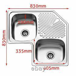 Double Inset Corner Bowl Stainless Steel Kitchen Sink Single Drainer & Waste Set