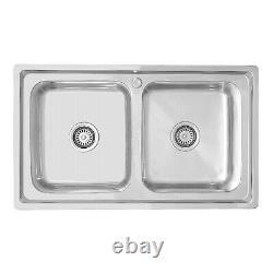 ENKI KS022 Stainless Steel Kitchen Sink 2.0 Double Bowl Square Sink Reversible