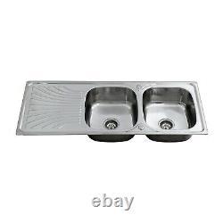 ENKI KS038 Stainless Steel Twin Double Bowl Inset Kitchen Sink Drainboard