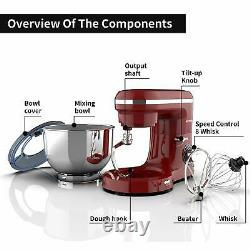 Electric Food 6 Speed 6.5QT 660W Tilt-Head Stainless Steel Stand Mixer Bowl Red