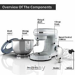 Electric Food Stand Mixer 6 Speed 6.5QT 660W Tilt-Head Stainless Steel Bowl Svr