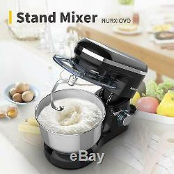 Electric Food Stand Mixer 6 Speed 7QT 660W Tilt-Head Stainless Steel Bowl Black