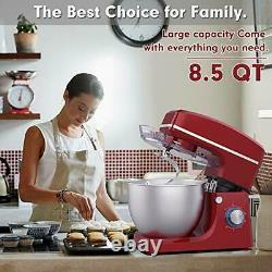 Electric Stand Mixer With Stainless Steel Mixing Bowl And 3 Attachments 8.5QT