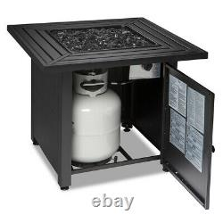 Endless Summer 30 inch Propane Gas Outdoor Fire Pit Table with Black Fire Glass