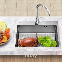 GOLKAR Stainless Steel Kitchen Sink Under/Topmount Sinks Laundry Bowl 29.5 inch