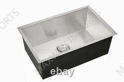 Handmade 23 Undermount Single Bowl 304 Stainless Steel Kitchen Sink Zero Radius