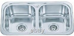 Kitchen Sink Inset Double 2.0 Two Bowl Square Stainless Steel Utility Room (D23)