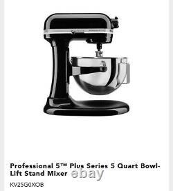 KitchenAid Pro 5 Plus 5qt Bowl-Lift Stand Mixer KV25G0XB BRAND NEW SEALED