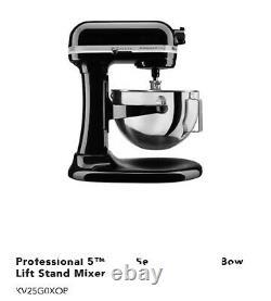 KitchenAid Pro 5 Plus 5qt Bowl-Lift Stand Mixer KV25G0XB Black NEW SEALed