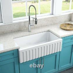 LaToscana Reversible 33 Single Bowl Fireclay Farmhouse White Farm Sink Italian