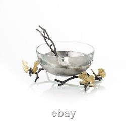 Michael Aram Butterfly Ginkgo Stainless Steel & Glass Nut Bowl Dish with Spoon