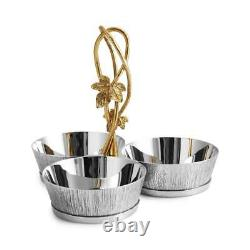 Michael Aram Ivy & Oak Hand Textured Stainless Steel Triple Bowl Dish Set