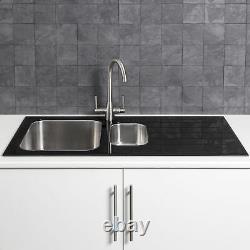 Modern Kitchen Stainless Steel 1.5 Bowl Sink RH Drainer 8mm Black Glass Surround