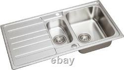 Modern Stainless Steel 1.5 Bowl Reversible Drainer Kitchen Sink + FREE Wastes