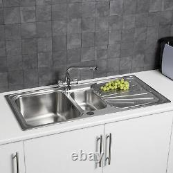 Modern Stainless Steel Inset Kitchen Sink Various Styles 1.5 Single Bowl + Waste