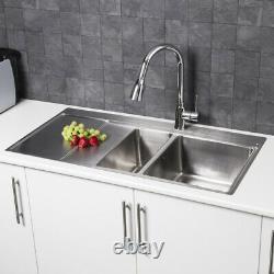 Modern Stainless Steel Kitchen Sink 1.5 Bowl Left Hand Drainer Square Waste Kit