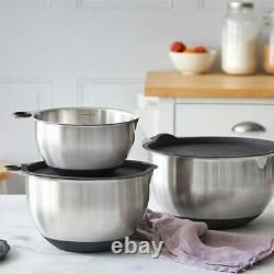 NIB Pampered Chef Stainless Steel Mixing Bowls Set 1735 Free Shipping