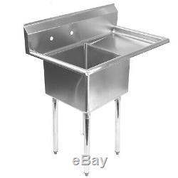 NSF Stainless Steel 18 Single Bowl Commercial Kitchen Sink with Right Drainboard