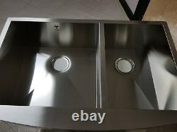 Omax Home Farm House Apron Handmade Kitchen Sink 60/40 Double Bowl Curved Front