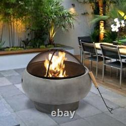 Outdoor Fire Pit Round Fireplace Concrete Wood Burning BBQ Grill Bowl Garden