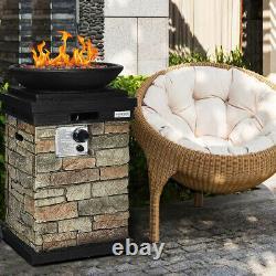 Patio Propane Burning Fire Bowl Column With Lava Rocks & Cover 40,000 BTU