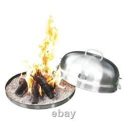 Portable Stainless Steel Propane Self Contained Ceramic Log Fire Pit Bowl