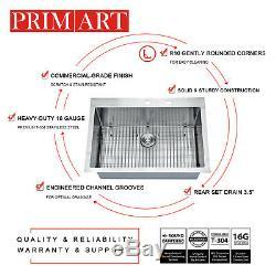Primart 33 x 22 Inch 16 Ga Single Bowl Stainless Steel Top Mount Kitchen Sinks