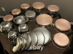 Revere Ware Copper Bottom 20 Piece Set Vintage Pots & Pans Cookware