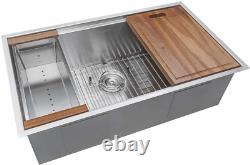 Ruvati 28,30,32 Workstation Ledge Undermount 16 Gauge Stainless Steel Kitchen Si