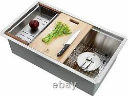 STARSTAR Workstation Ledge Undermount Single Bowl Stainless Steel Kitchen Sink