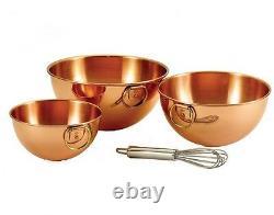 Solid Copper Beating Bowl Set of 3, Old Dutch 2 Qt, 4.5 Qt, 5 Qt, Chef Gift