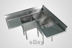 Stainless Steel 3 Bowl Corner Sink