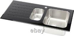 Stainless Steel Glass Kitchen Sink 1.5 Bowl Left Hand Drainer Black Waste Kit