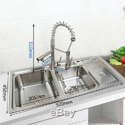 Stainless Steel Kitchen Sink Undermount Vessel 2 Bowl Set +Kitchen Mixer Faucet