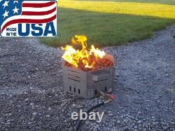 Stainless Steel Portable Propane Fire Pit Bowl 16 Hexagon -Made in USA