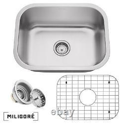 Stainless Steel Single Bowl 16 Gauge Undermount Kitchen Sink with Drain & Grid