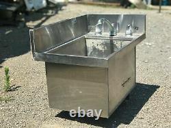 Stainless Steel Single Bowl Bar Corner Sink, 1949 Estate Salvage, 25.5 x 16.5