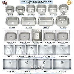 Stainless Steel Single Bowl Topmount / Undermount Kitchen Sink Multiple Size