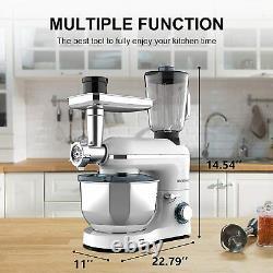 Stand Mixer 3 in1 850W with7QT Tilt-Head Bowl 6 Speeds Meat Grinder Blender White