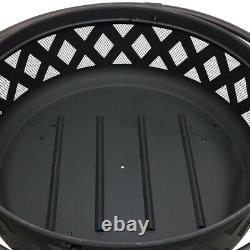 Sunnydaze 36 Fire Pit Steel with Black Finish Crossweave with Spark Screen