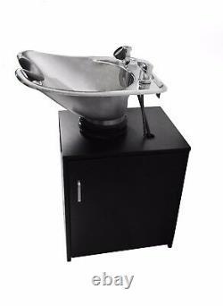 TILTING Brushed Salon Stainless Steel Shampoo Bowl Black Cabinet TLC-1567Tilt-C