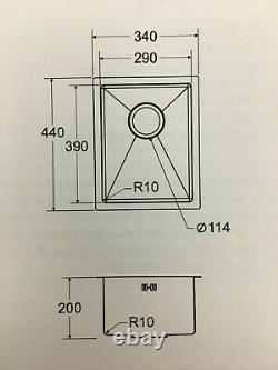 Undermount Kitchen Sink Single Bowl, High Quality, 1.2mm Thick, 340x440x200mm
