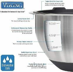 Viking 10-Piece Stainless Steel Mixing, Prep and Serving Bowl Set, Black