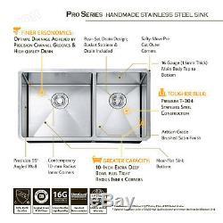 WKOH 33 inch 16 Gauge 60/40 Double Bowls Undermount Stainless Steel Kitchen Sink