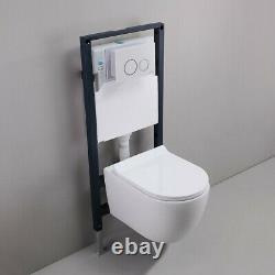 White Dual Flush Elongated Wall Hung Toilet Bath Carrier System&Tank Bowl Set